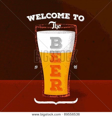 Vintage poster with beer and lettering