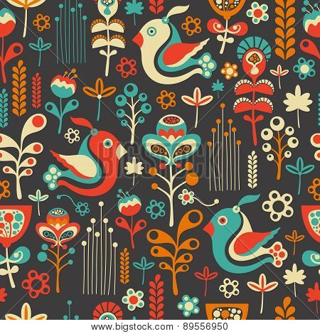 Colorful seamless pattern with flying birds and flowers.