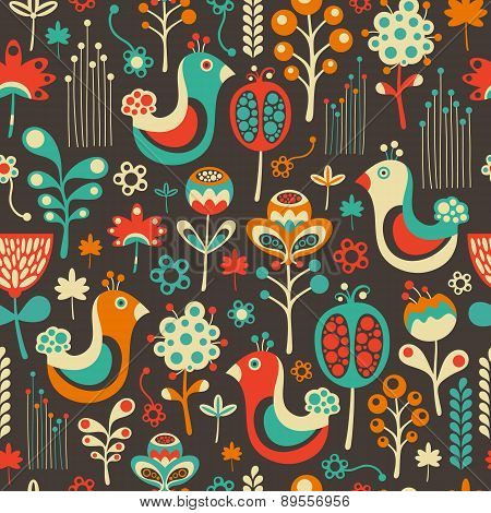 Colorful seamless pattern with funny birds and flowers.