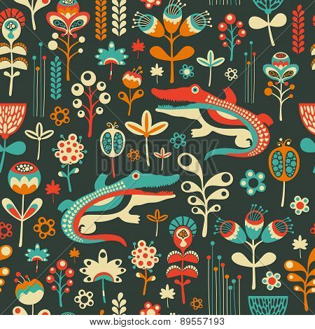 Colorful seamless pattern with happy crocodiles and flowers.