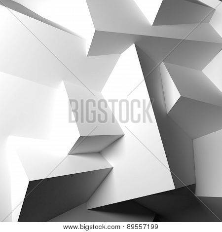 Abstract background with overlapping white cubes