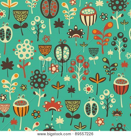 Colorful seamless pattern with flowers.