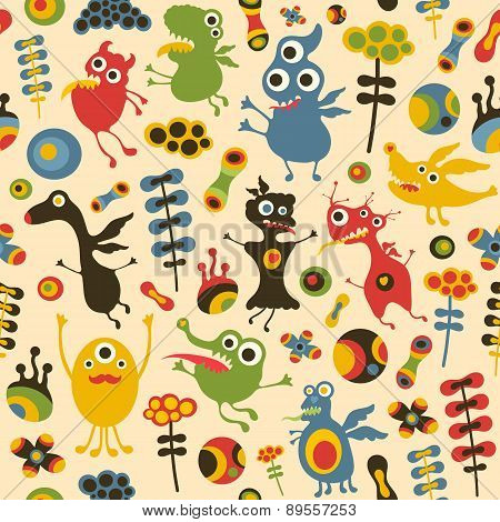 Colorful seamless pattern with happy monsters and flowers.