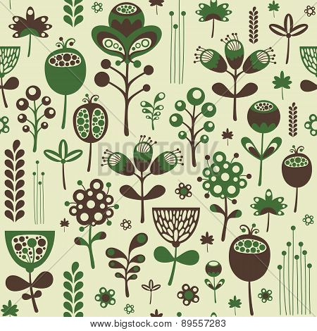 Vintage seamless pattern with green and brown flowers.