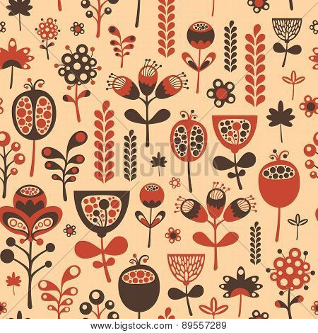 Vintage seamless pattern with red and brown flowers.