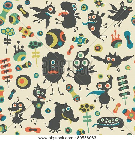 Retro seamless pattern with happy monsters and colorful flowers.