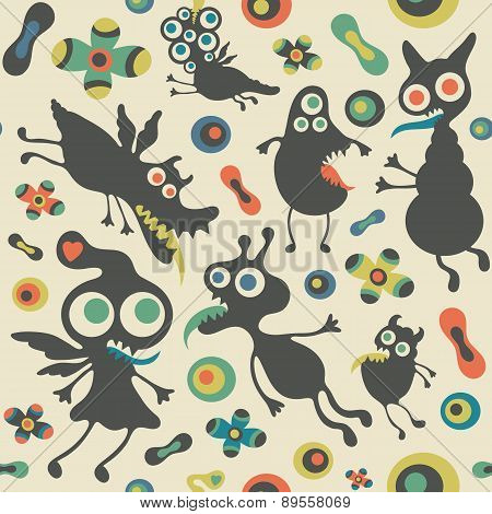 Retro seamless pattern with happy monsters.