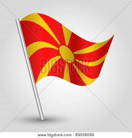 Vector Waving Simple Triangle Macedonian Flag On Pole - National Symbol Of Macedonia