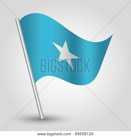 Vector Waving Simple Triangle Somali  Flag On Pole - National Symbol Of Somalia