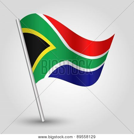 Vector Waving Simple Triangle African Flag On Pole - National Symbol Of South Africa