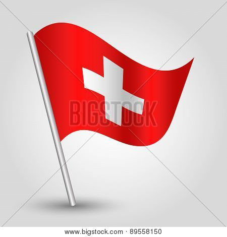 Vector Waving Simple Triangle Swiss  Flag On Pole - National Symbol Of Switzerland