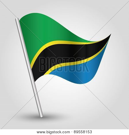 Vector Waving Simple Triangle Tanzanian Flag On Pole - National Symbol Of Tanzania