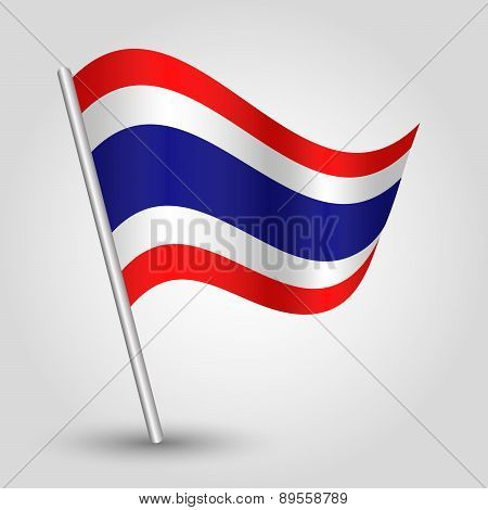 Vector Waving Simple Triangle Thai Flag On Pole - National Symbol Of Thailand
