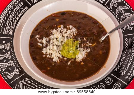 Black Bean Soup Overhead View