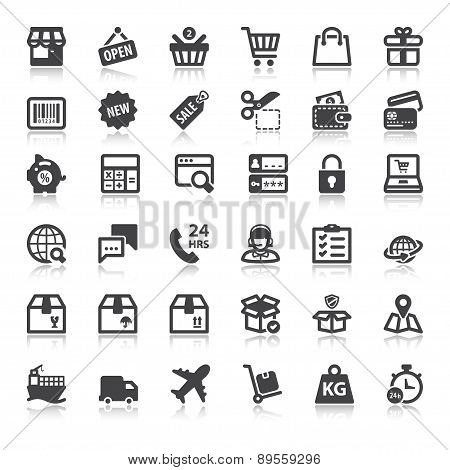 Shopping Online Flat Icons With Reflection