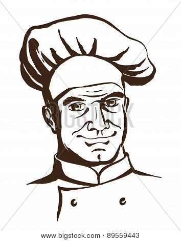 Handsome chef wearing hat and uniform. Hand drawing logo