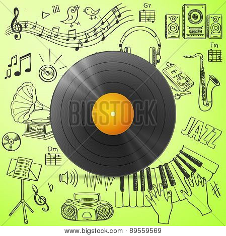 Black vinyl record and hand draw misic icon