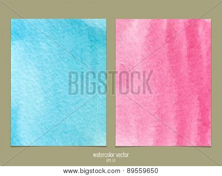 Pink and blue watercolor vector background
