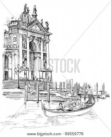 Venice - Cathedral of Santa Maria della Salute. The gondolier floats on a gondola with tourists. Black & white sketch