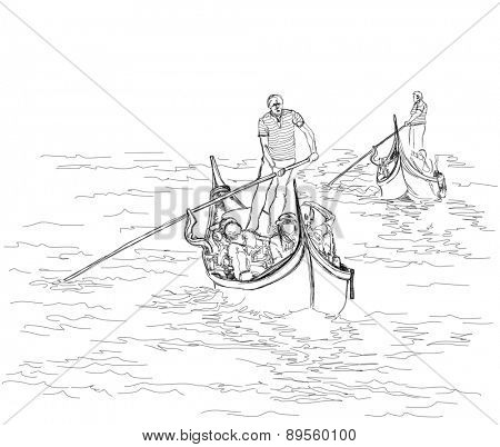 Venice. Italy. The gondolier floats on a gondola with tourists. Black & white sketch