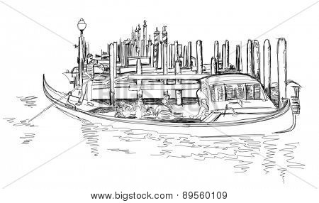 Venice - Grand Canal. View of the Rialto Bridge. The gondoliers floats on a gondola with tourists.  Black & white sketch