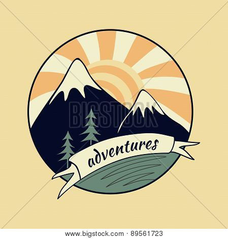 Colored vintage adventure label