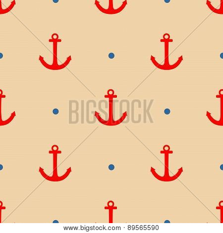 Tile sailor vector pattern with red anchor and navy blue polka dots on pastel background