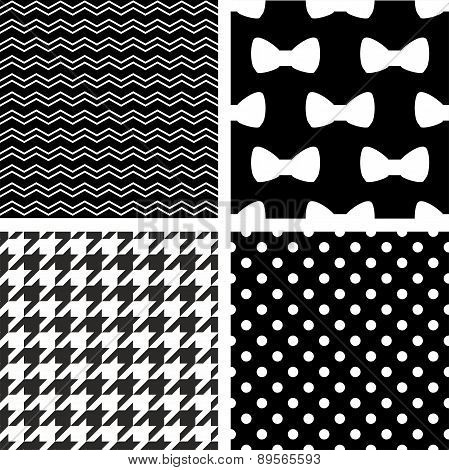 Tile vector black and white set with zig zag, polka dots, houndstooth and bows