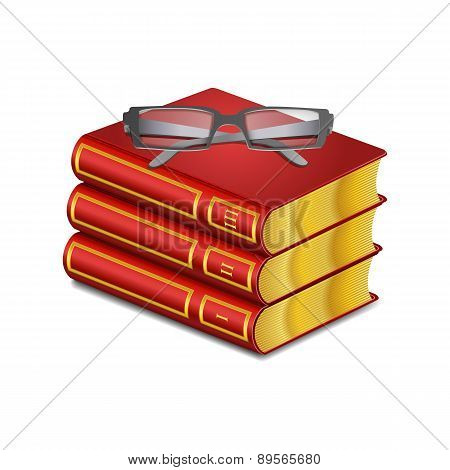 Vector red book with glasses