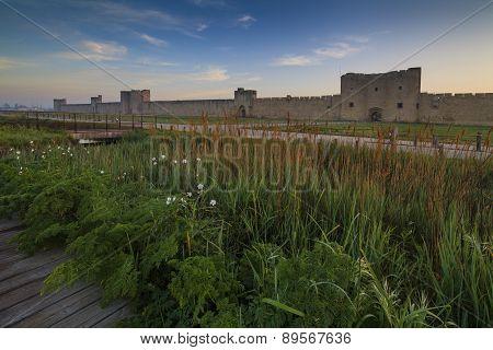 Castle, Aigues Mortes, Southern France.langedok. Camargue.