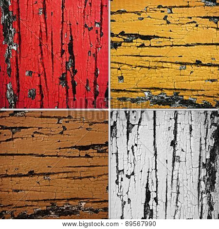 cracked wooden plank set