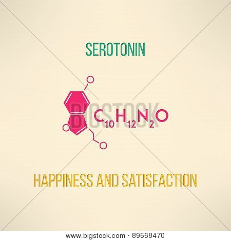 Happiness and satisfaction chemistry concept. Serotonin molecule formula background made in modern f