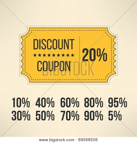 Discount promotion coupon in vintage design. Sale gift voucher card. Vector illustration.