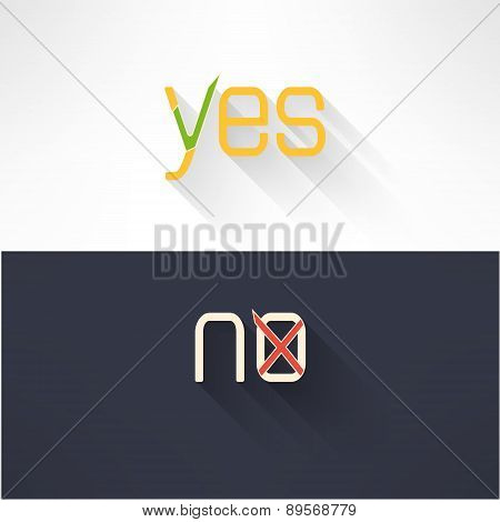 Yes and no button checkmark in modern flat design. Acceptance and denial signs. Vector illustration.