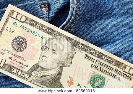 Dollars On Jeans Background