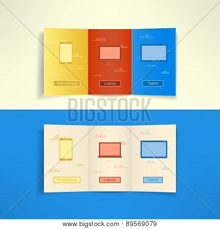 Modern three fold brochure leaflet cloud computing design template with laptop smartphone and tablet