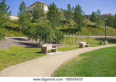 Park Benches In California Suburbs