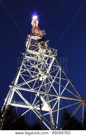 Broadcast Tower In Lviv At Night