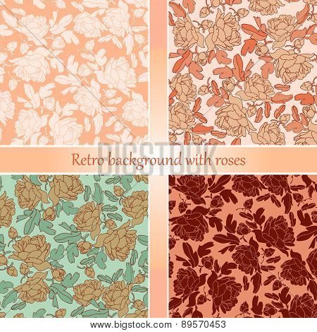Floral abstract vector pattern background set.Romantic wallpapers.