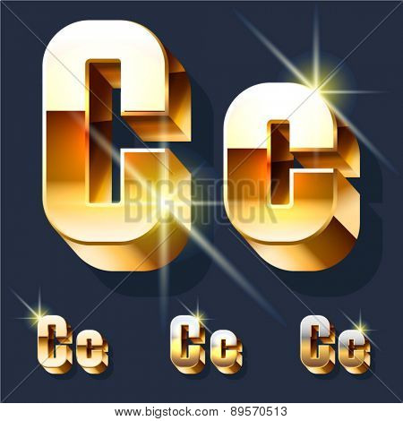 Vector set of gold shiny 3D alphabet. Letter C