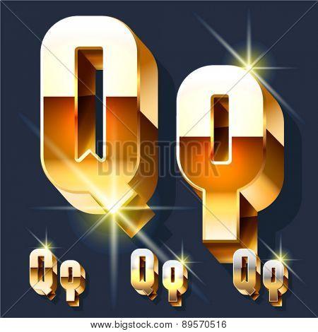 Vector set of gold shiny 3D alphabet. Letter Q