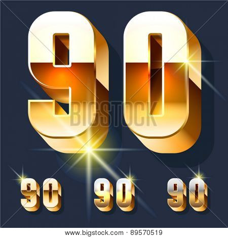 Vector set of gold shiny 3D alphabet. Numbers 9 0