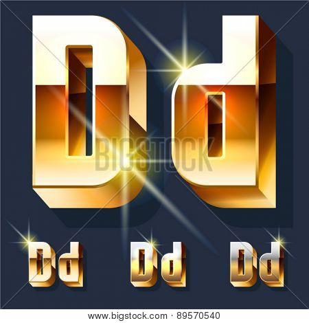 Vector set of gold shiny 3D alphabet. Letter D
