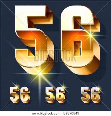 Vector set of gold shiny 3D alphabet. Numbers 5 6