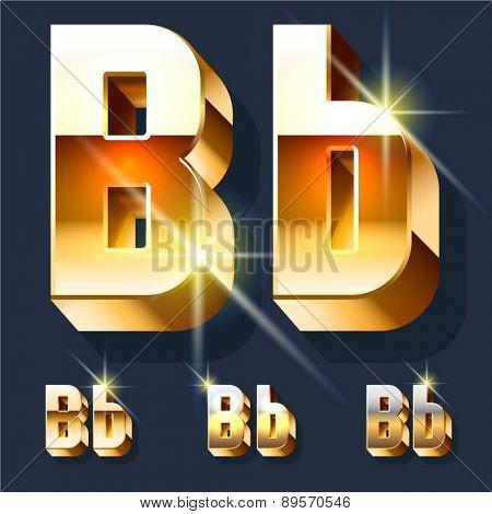 Vector set of gold shiny 3D alphabet. Letter B