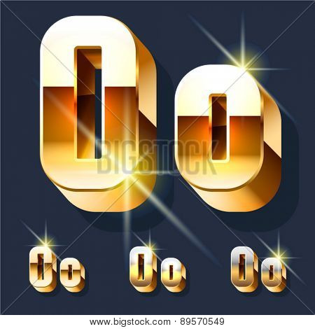 Vector set of gold shiny 3D alphabet. Letter O