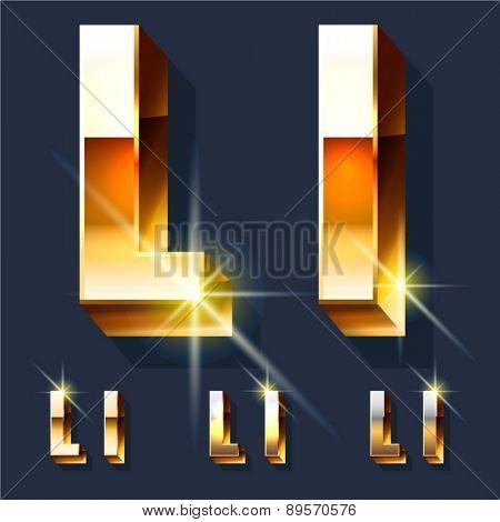 Vector set of gold shiny 3D alphabet. Letter L