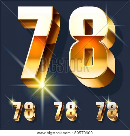 Vector set of gold shiny 3D alphabet. Numbers  7 8