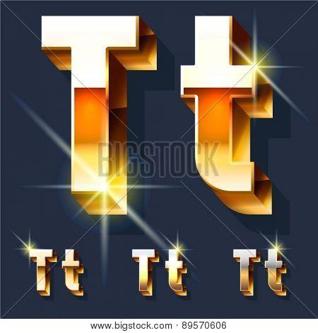 Vector set of gold shiny 3D alphabet. Letter T