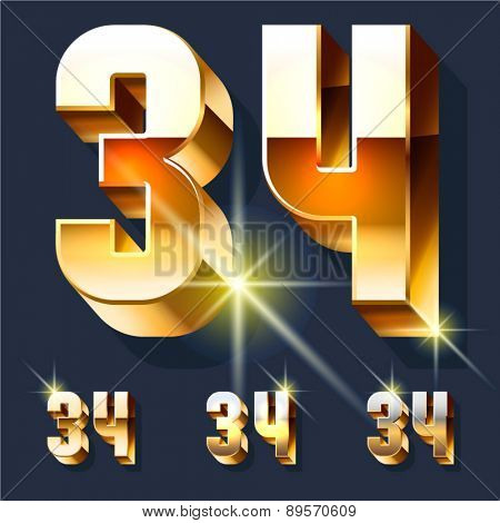 Vector set of gold shiny 3D alphabet. Numbers 3 4